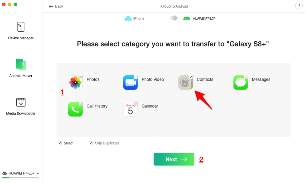 Transfer iCloud Contacts to Android with AnyTrans