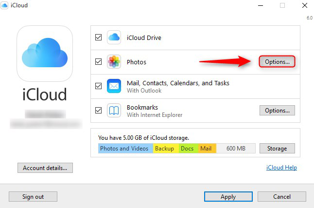 Transfer Photos from iCloud Photo Library to PC via iCloud Control Panel - Step 1