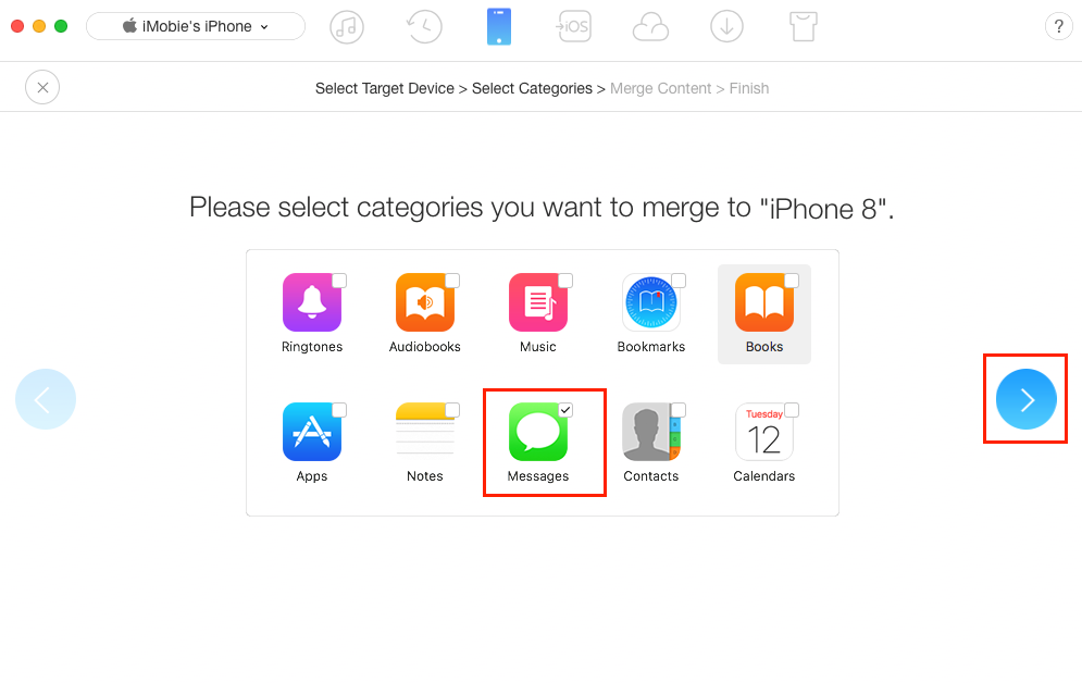 How to Transfer iMessages from iPhone iPad to iPhone 8 (Plus)/X - Step 3