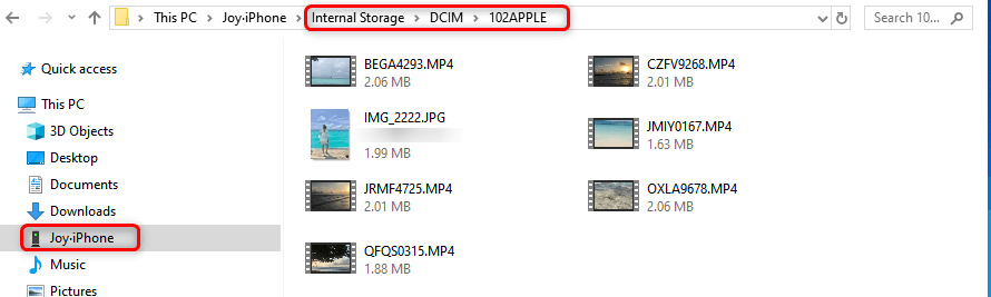 Transfer iPhone Photos with File Explorer