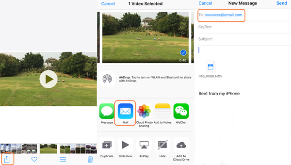 Share iPhone Videos to Android with Email
