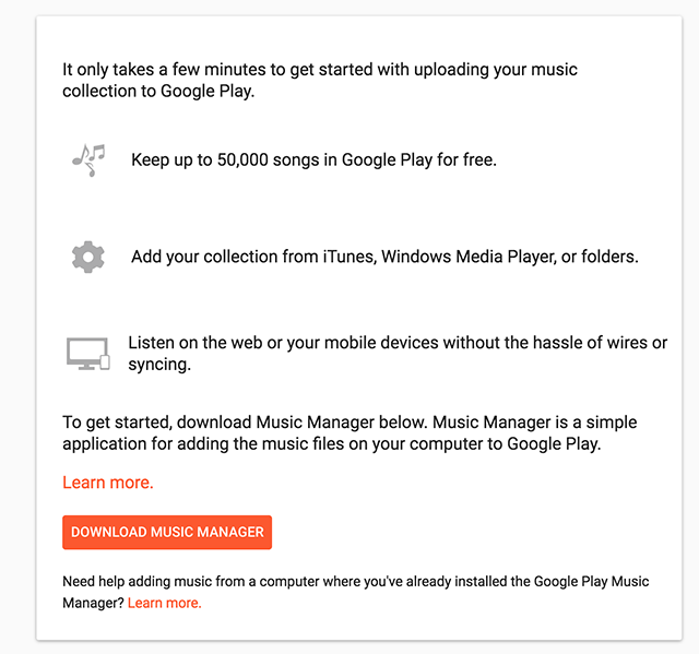 Download and install the Google Music Manager app on your computer