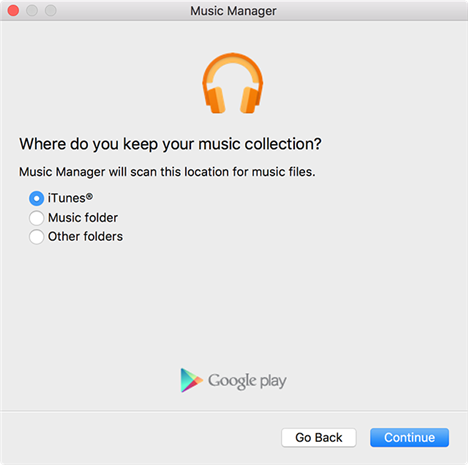 Select iTunes as the source of music in the Music Manager app