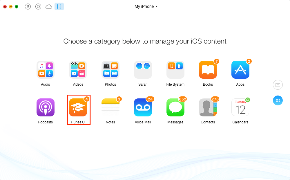 How to Transfer iTunes U from iPhone to Computer – Step 1