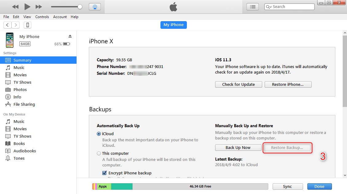How to Transfer Messages from iPhone to iPhone with iTunes -Step 3