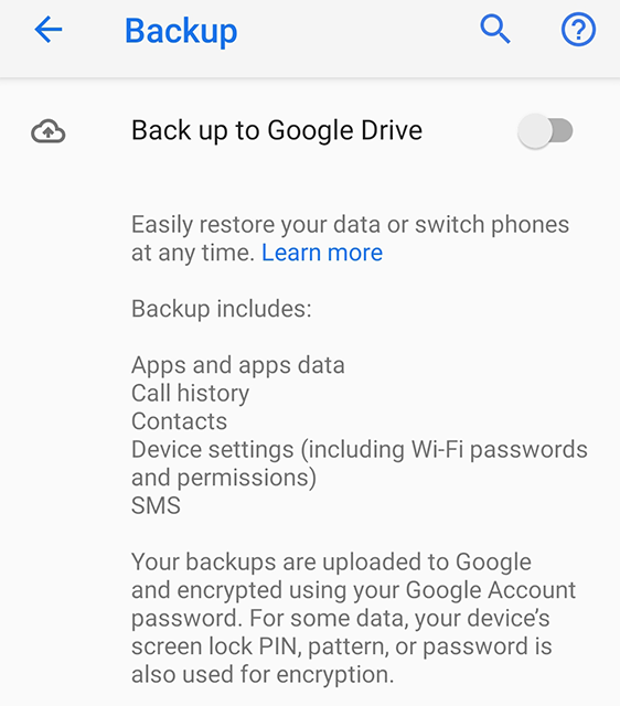 Backup Messages to Google