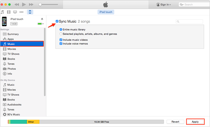 How to Transfer Music from Computer to iPod (touch) without iTunes – Step 3
