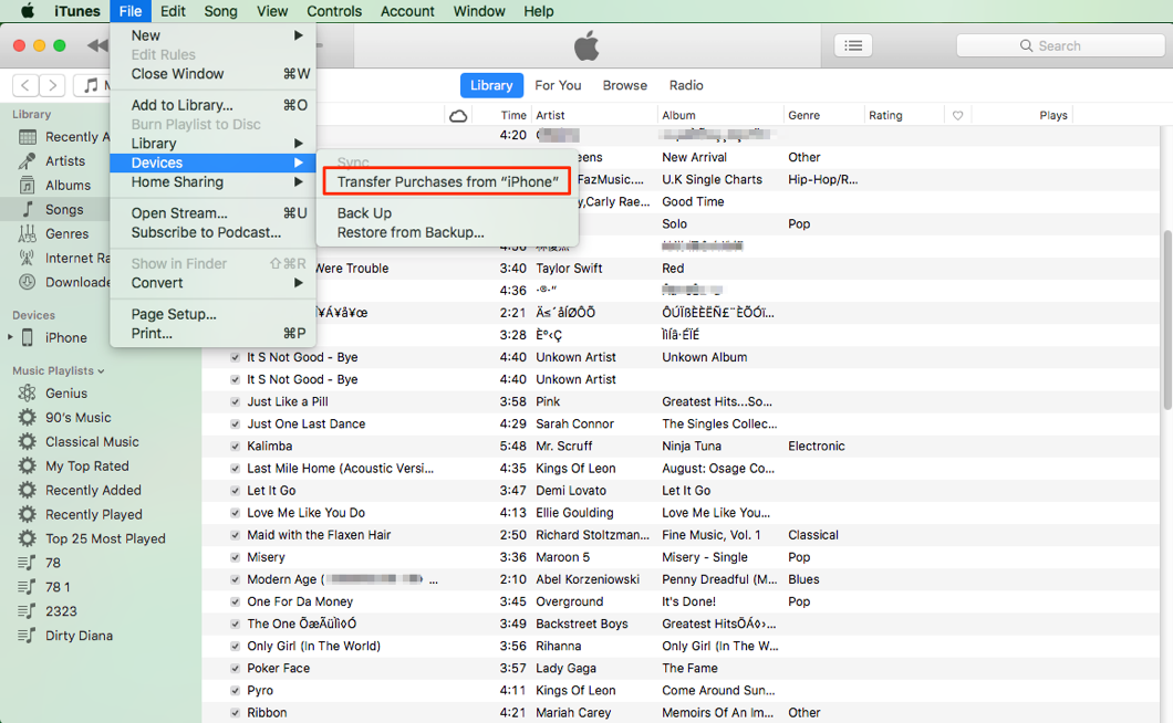How to Transfer Music from iPhone to macOS Mojave with iTunes