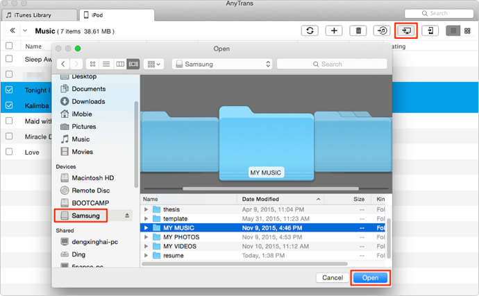 How to Transfer Music from iPod to Android with AnyTrans – Step 3