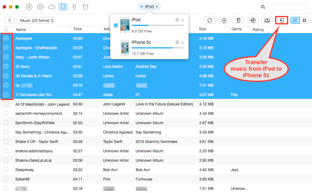 send songs from iphone to iphone how to transfer from ipod to iphone 5c on mac 19455