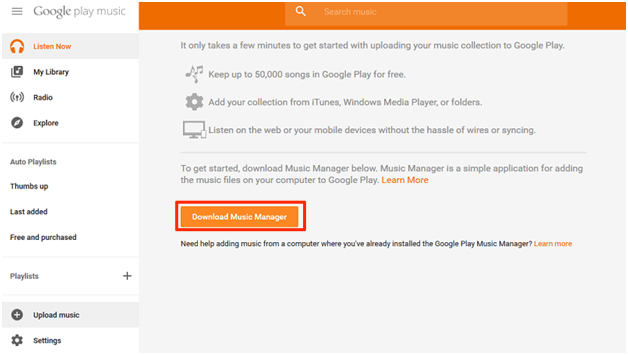How to Get iTunes Music on Android Using Google Play Music – Step 2