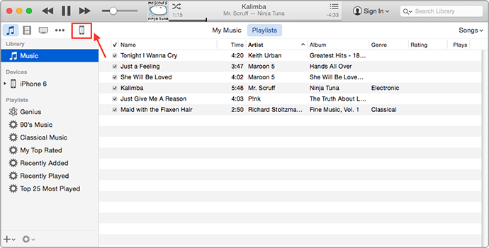 Transfer Music from iTunes to iPhone with iTunes – Step 1