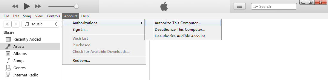 Authorize This Computer in iTunes