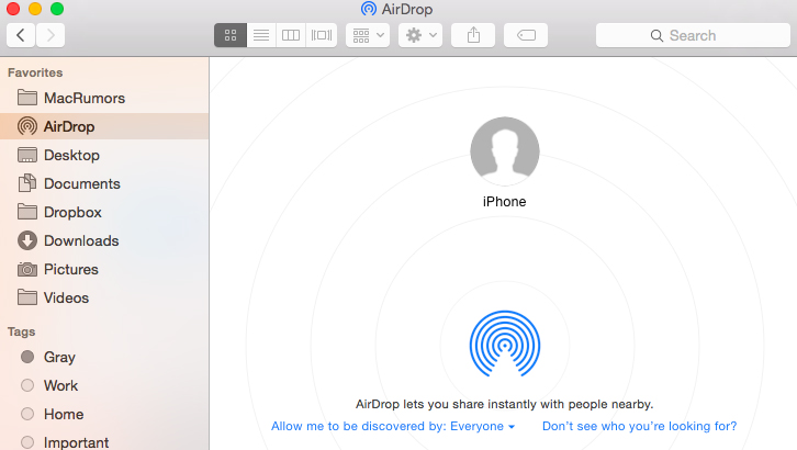 Transfer Music from Computer to iPhone Wirelessly via AirDrop - Step 2