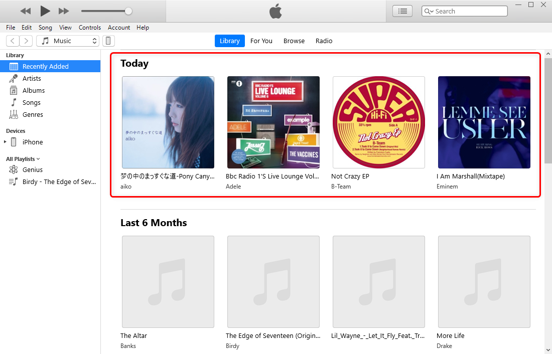 View and Play the Transferred Music on iTunes