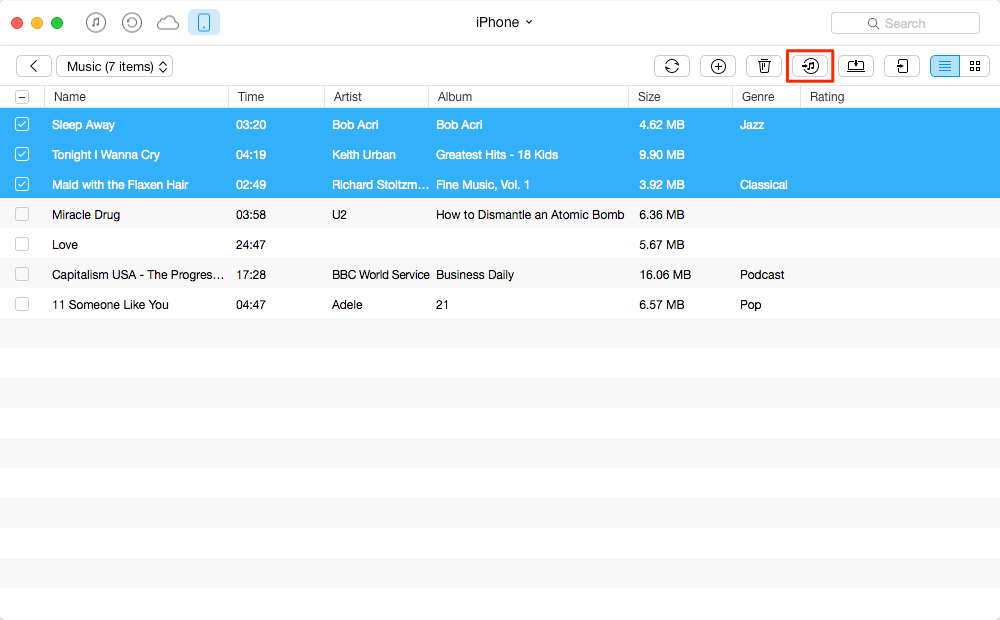 Transfer Non-Purchased Music from iPhone to iTunes – Step 2