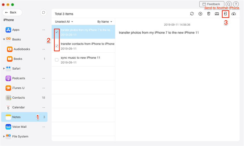 Transfer Notes to New iPhone in 1 Click - Step 2