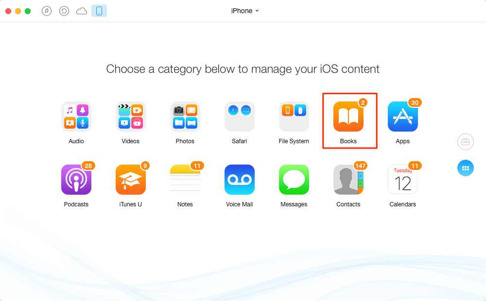 How to Transfer Books from iPhone to iPad – Step 2