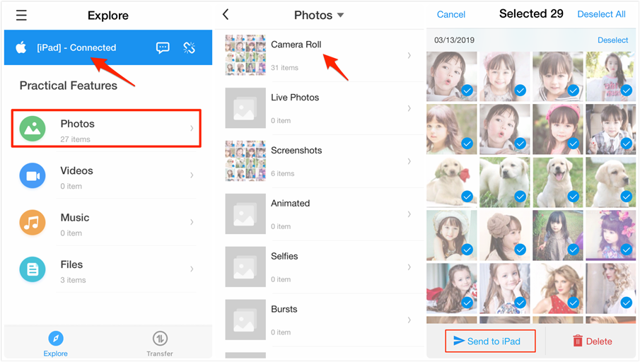 Transfer Photos from Android to iPad Wirelessly - Step 4