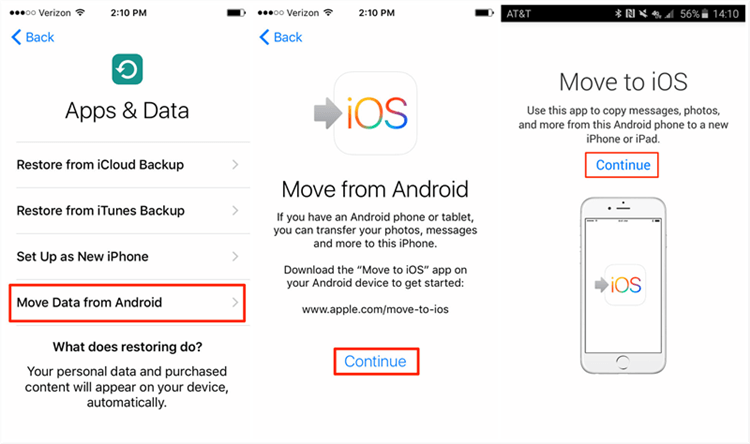 Transfer Photos from Android to iPhone with Move to iOS