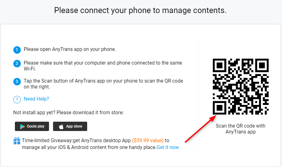 How to Transfer Photos from Computer to iPhone 6/6s (Plus) Wirelessly - Step 1