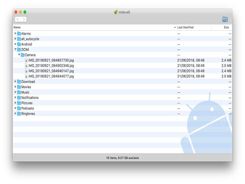 Transfer Photos from Huawei to Mac via Android File Transfer- Step 3