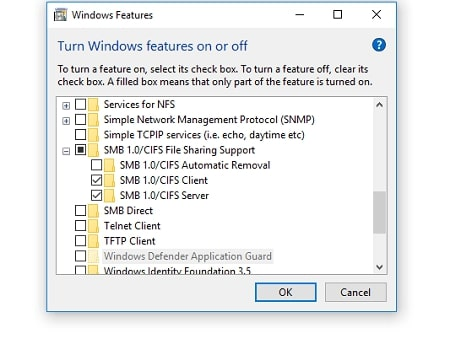 Go to Window Features and Check SMB1.0/CIFS File Sharing Support