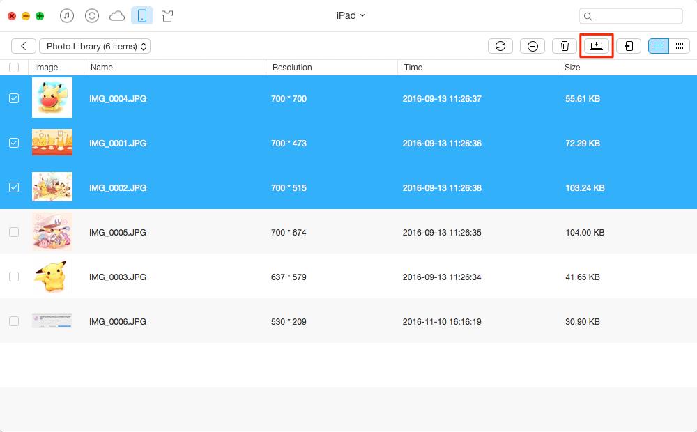 Sync Photos from iPad Air/Air 2 and iPad mini 2/mini 3 to Computer – Step 3