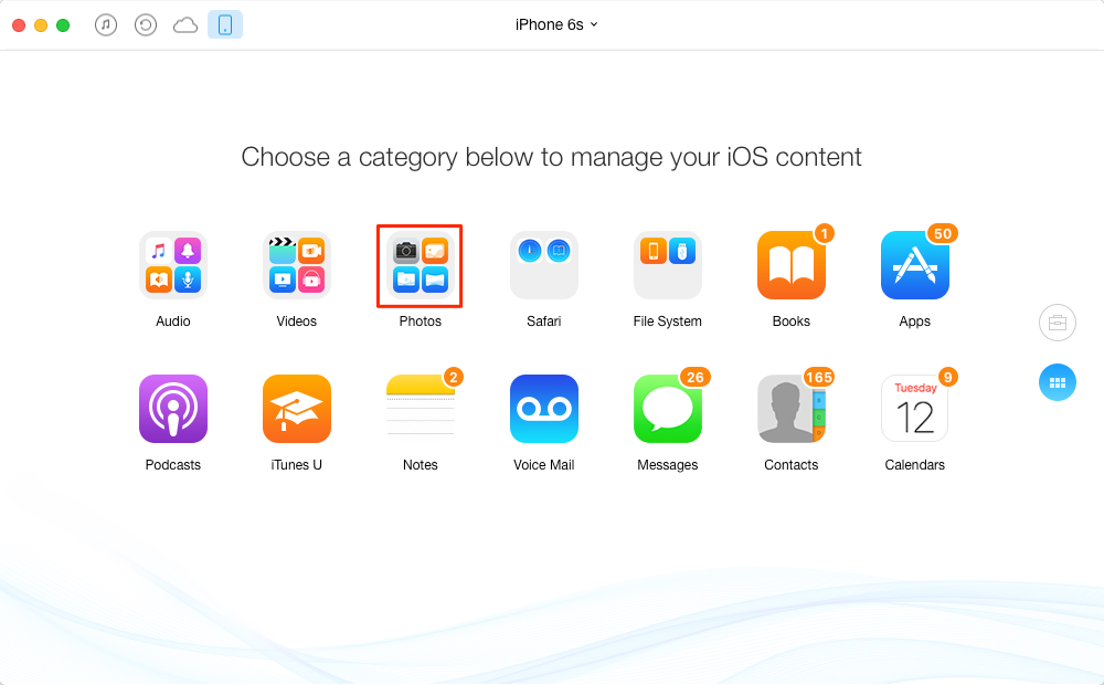 How to Transfer Photos from iPhone 6/6s to Mac with AnyTrans – Step 2