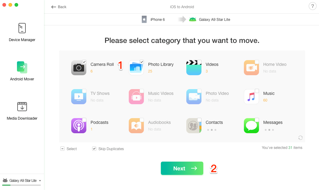 How to Transfer Photos from iPhone to Samsung Galaxy - Step 3