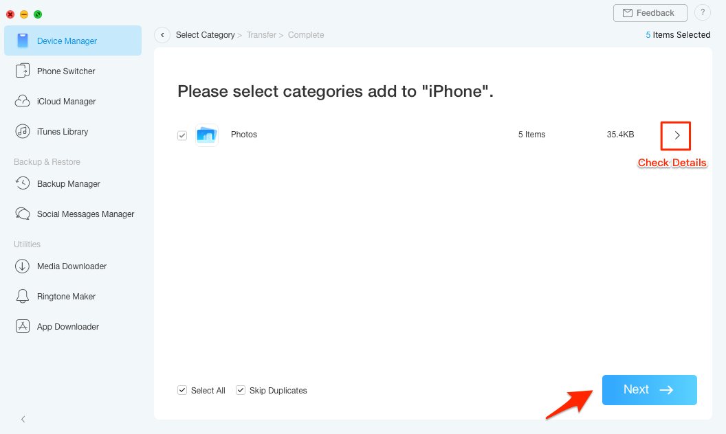 Transfer Photos from Mac to iPhone with AnyTrans for iOS – Step 3
