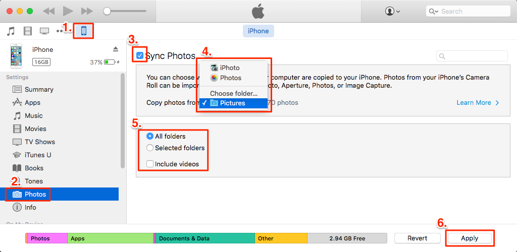 How to Transfer Photos from Mac to iPhone 7/7 Plus with iTunes