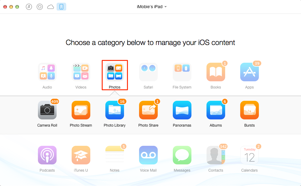 How to Transfer Photos from Old iPad to New iPad with AnyTrans – Step 3