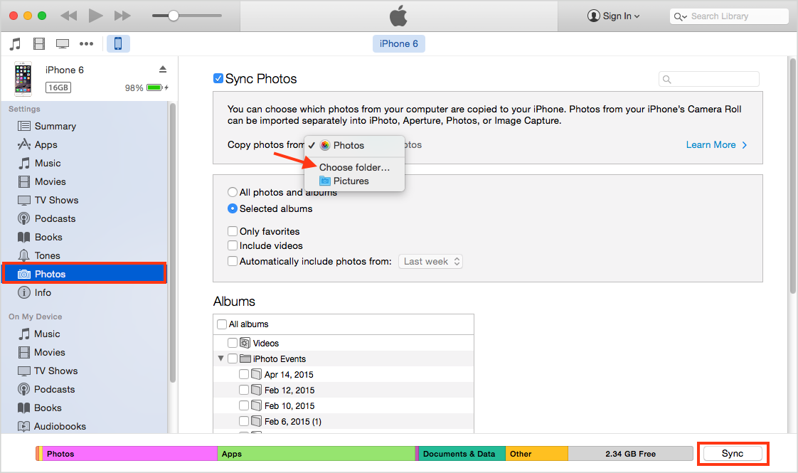 THow to Transfer Photos from Samsung to iPhone with iTunes