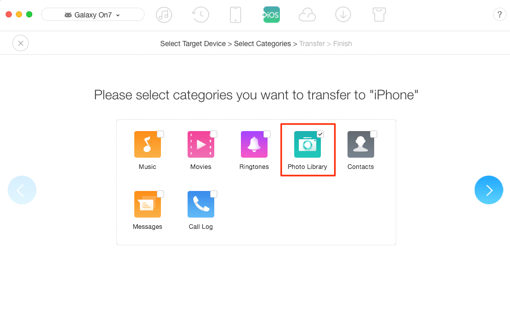 How to Send Photos from Samsung to iPhone Quickly – Step 2