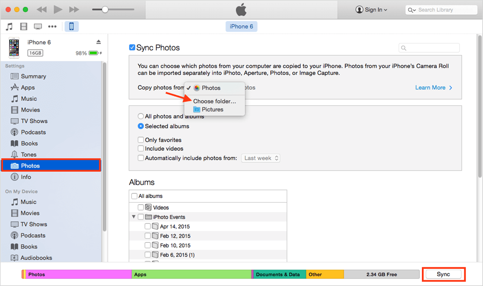 Transfer Photos from Samsung to iPad with iTunes