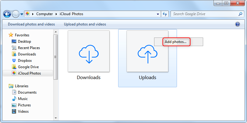 How to Transfer Photos from Windows 10 to iPhone without iTunes - Step 3