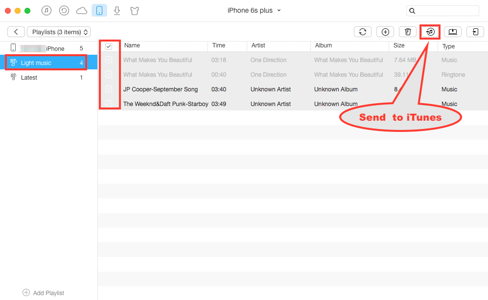 How to Transfer Playlist from iPhone to iTunes - Step 3