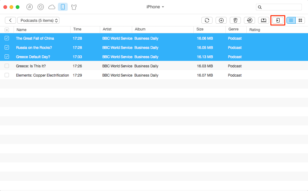 How to Transfer Podcasts from iPhone to iPhone – Step 3