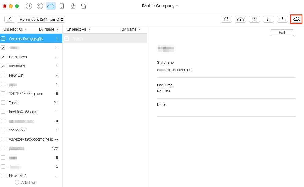 Transfer Reminders Between iCloud Accounts – Step 3