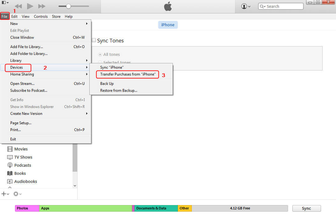 How to Transfer Ringtones from iPhone to iPhone with iTunes - Step 3