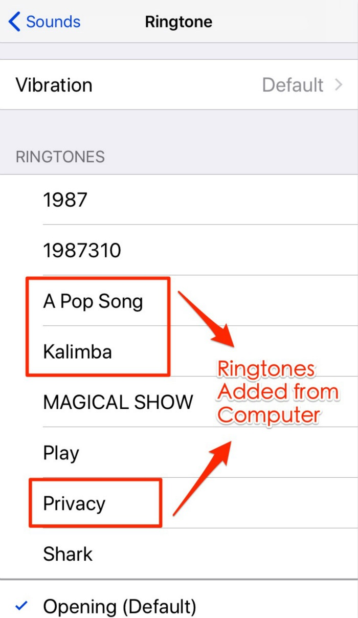 Check the Transferred Ringtones