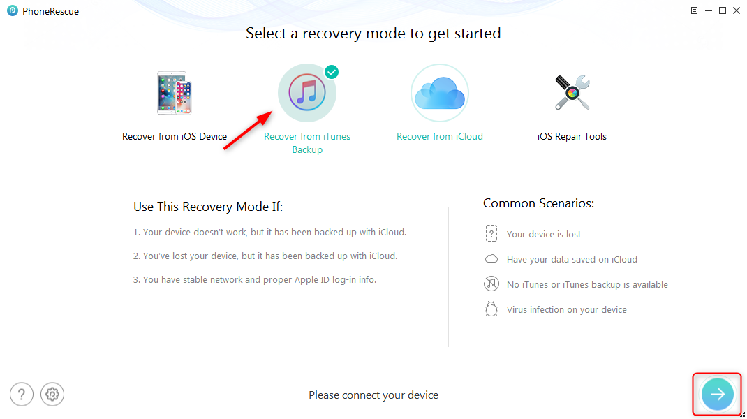 How to Download Text Messages from iPhone with iTunes Backup - Step 1