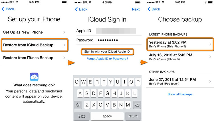 How to Transfer Only iMessages from iPhone to iPhone with iCloud - Step 2