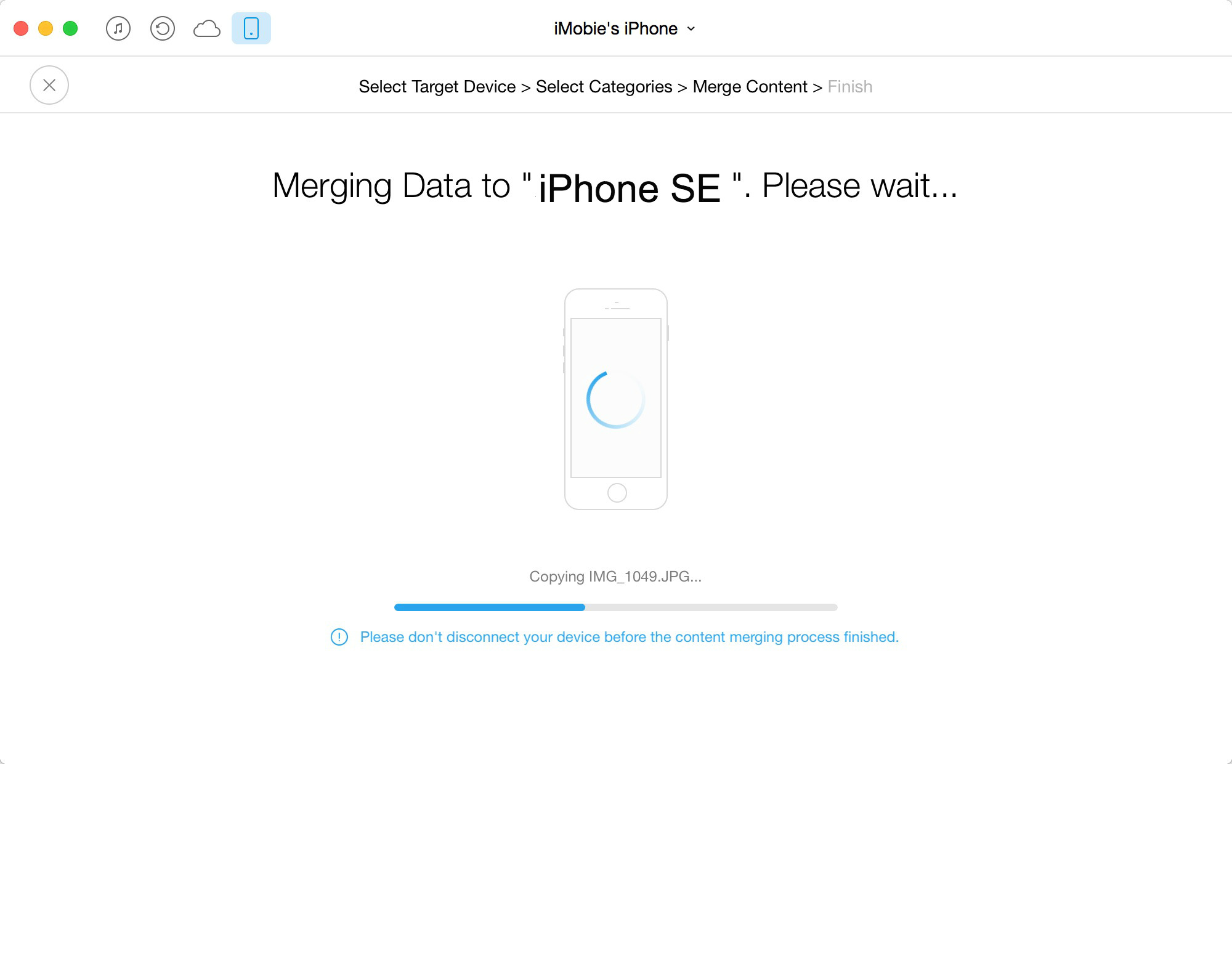 Transfer Messages from iPhone 5s to iPhone SE with AnyTrans – Step 3