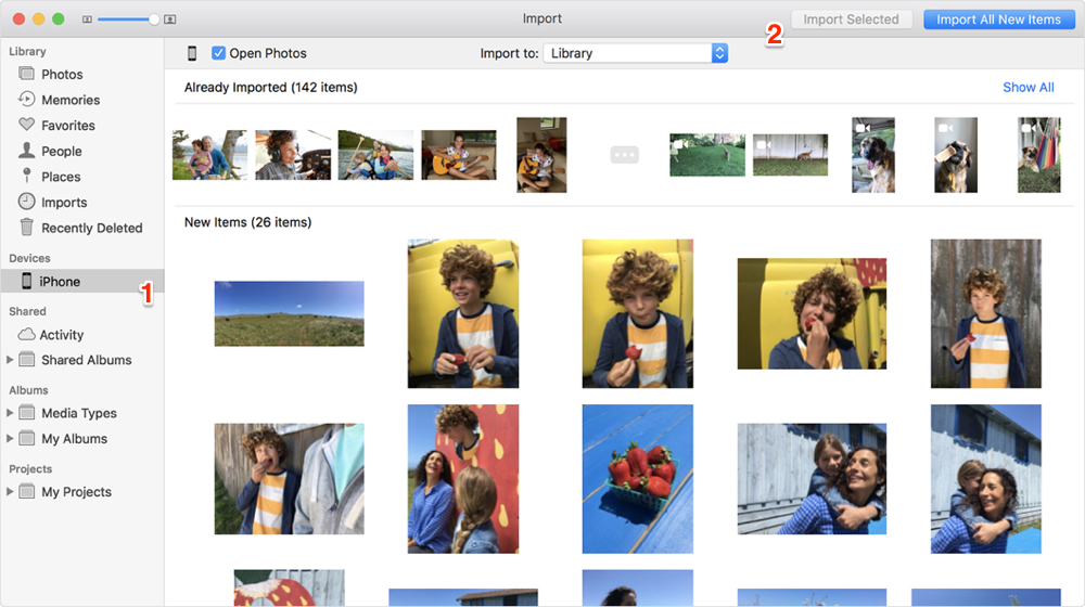 Import photos from iphone to imac