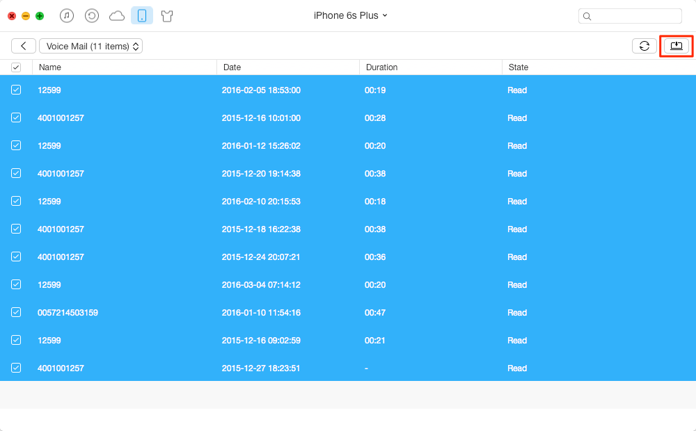 Transfer Voicemails from iPhone to PC/Mac with AnyTrans – Step 3