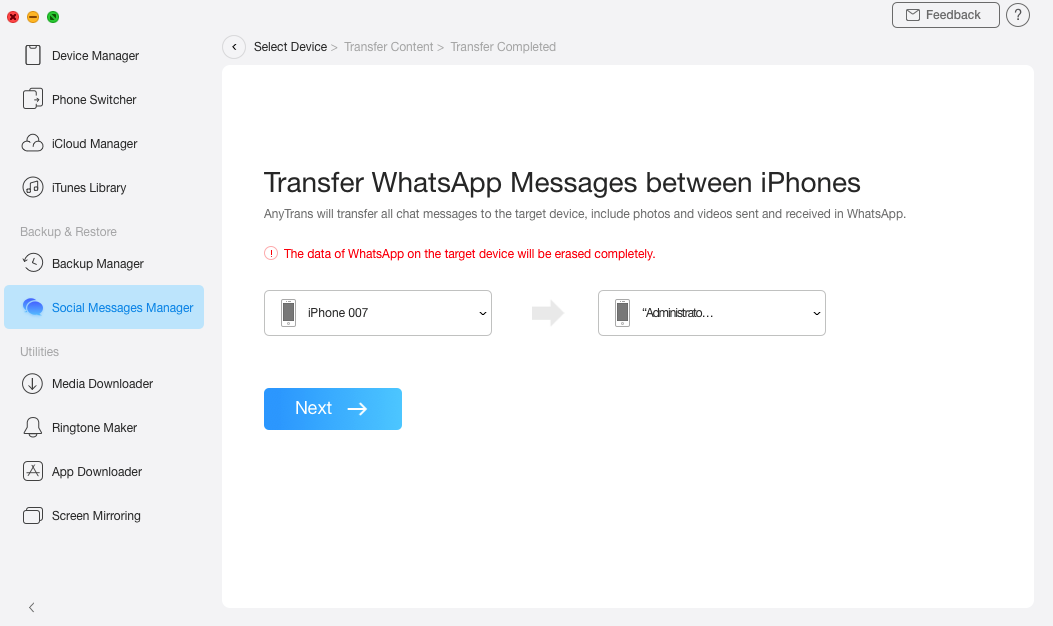 Transfer WhatsApp from iPhone to iPhone via AnyTrans for iOS - Step 3
