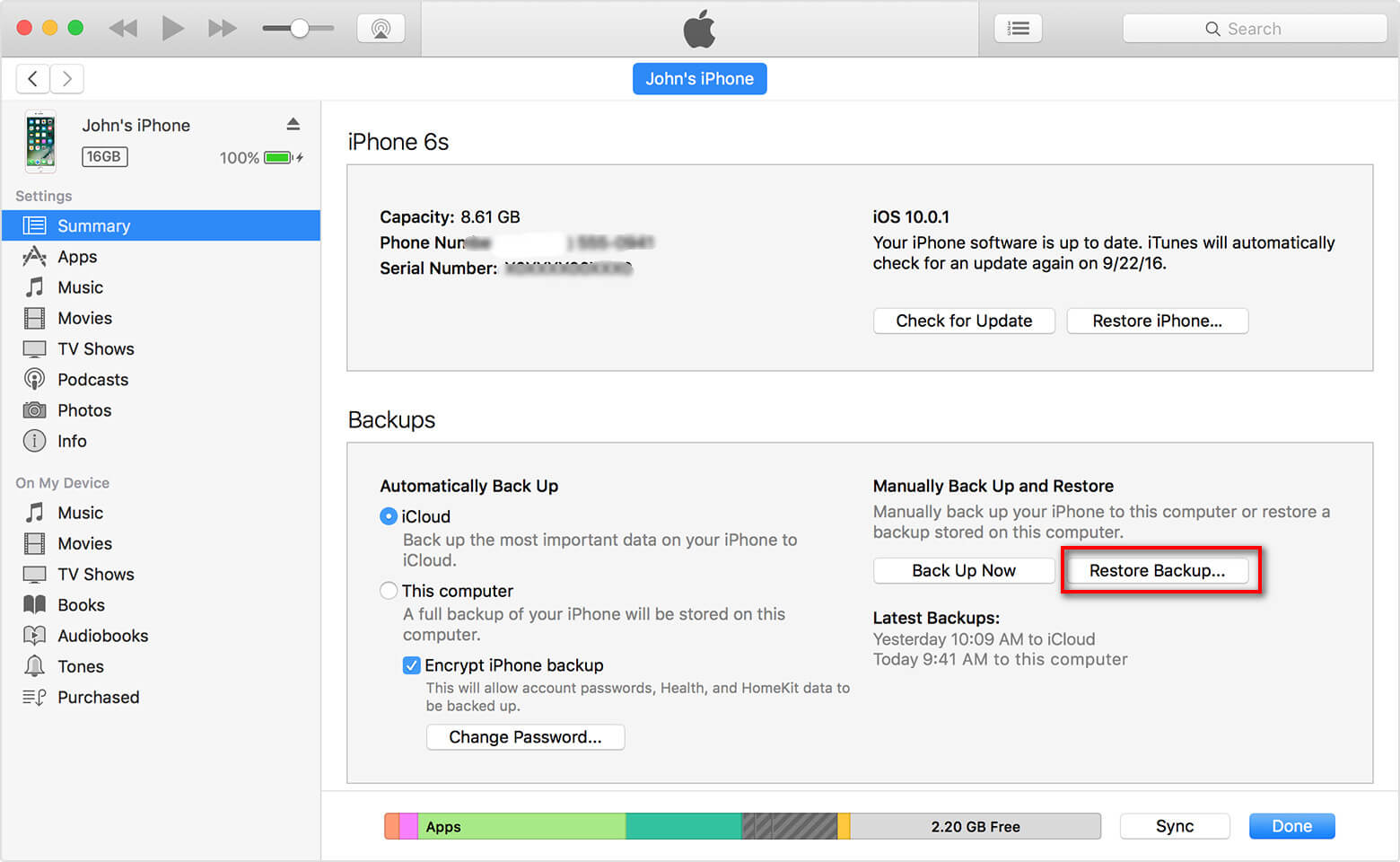 Transfer WhatsApp from iPhone to iPhone via iTunes Backup - Step 4