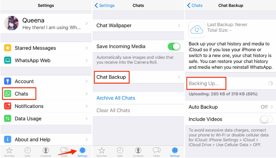 Transfer WhatsApp from iPhone to Huawei via Chat Backup - Step 1